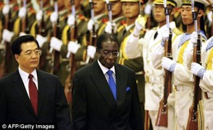 Chinese President Hu and Dictator Robert Mugabe